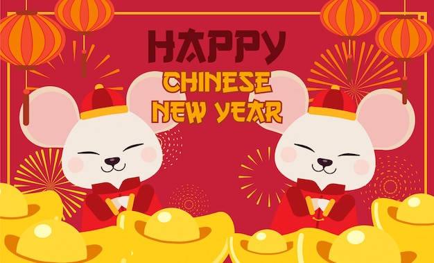 The character of cute mouse with chinese gold and lantern and fireworks. Premium Vector