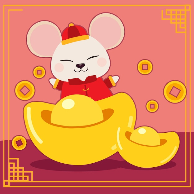 The character of cute mouse with money chinese and coin ...