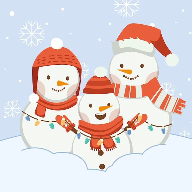 The character of cute snowman with friends or family. the character of cute snowman wear winter hat ans scarf and winter gloves and light bulb in flat vector style. Premium Vector