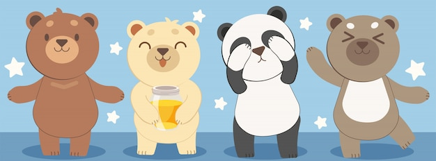 Character design of bear Premium Vector