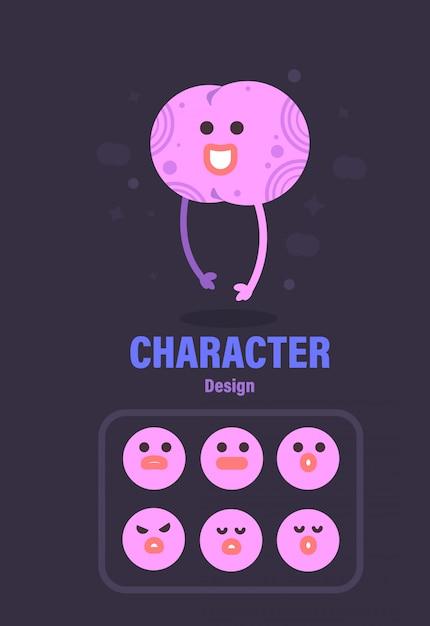 Character design . brain character . brain vector illustration Premium Vector
