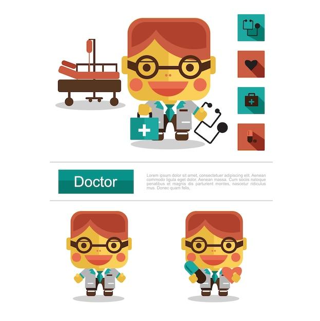 Character design doctor career Premium Vector