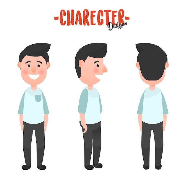 Character design man Premium Vector