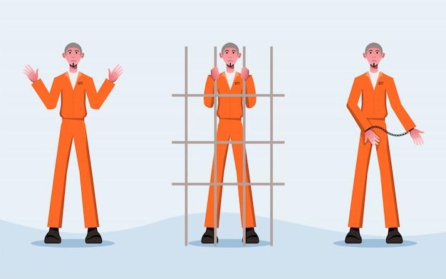 フラット囚人白黒衣装のキャラクターデザイン- Premiumベクター