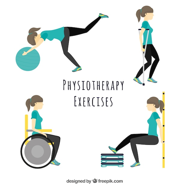 Character doing different physiotherapy exercises Free Vector