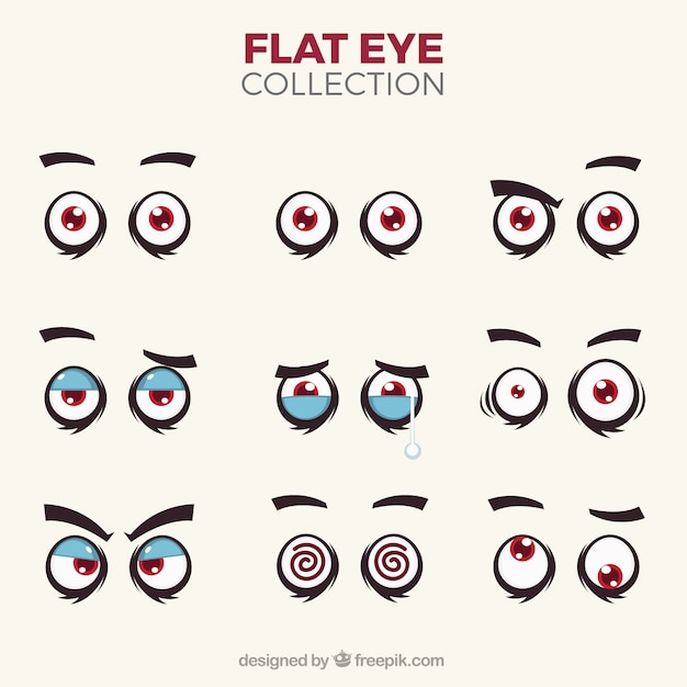 Character eyes pack Free Vector