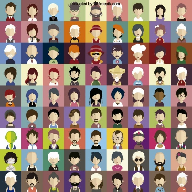Character faces icons Free Vector