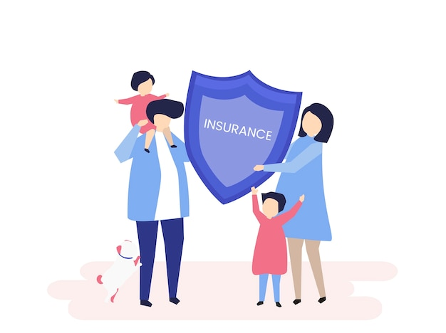 Character of a family holding an insurance illustration Free Vector