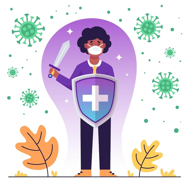 Character fighting against virus with sword and shield Free Vector