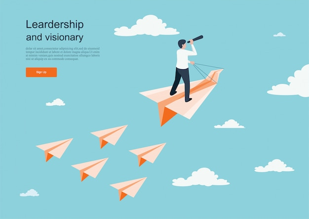 Character flying on paper plane. business concept of vision. background template Premium Vector