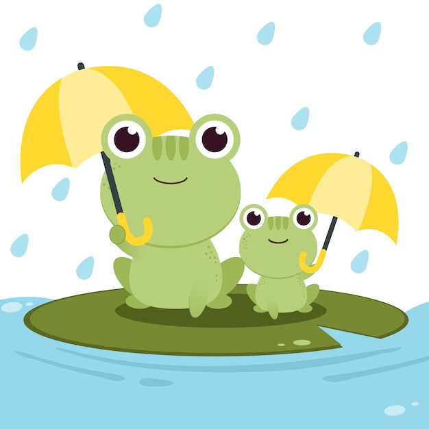 The character of frog holding an umbrella in the rain Premium Vector