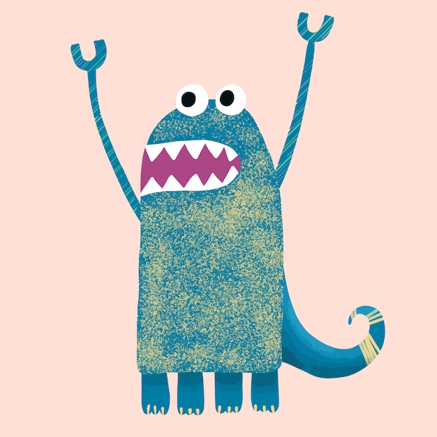 Character funny jagged cute monster Premium Vector