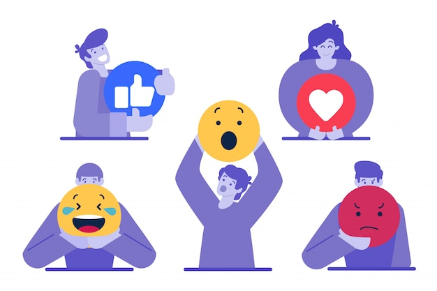 Character holding emoticon Premium Vector