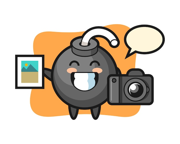 Character illustration of bomb as a photographer Premium Vector