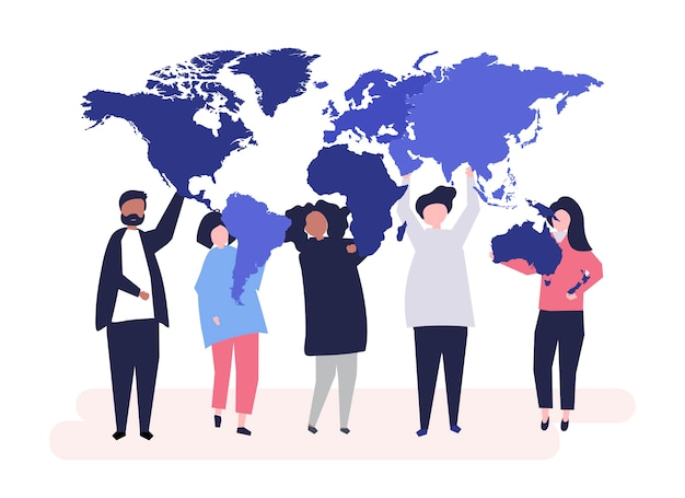 Character illustration of diverse people and the world Free Vector