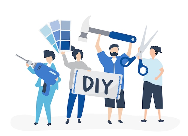 Character illustration of diy home improvement concept Free Vector