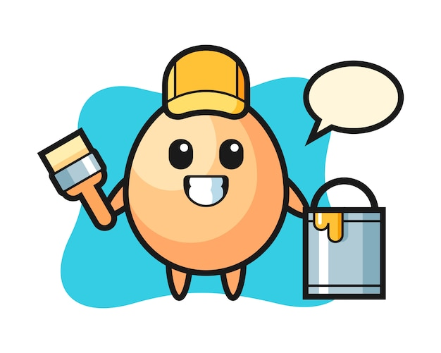 Character illustration of egg as a painter, cute style design for t shirt, sticker, logo element Premium Vector