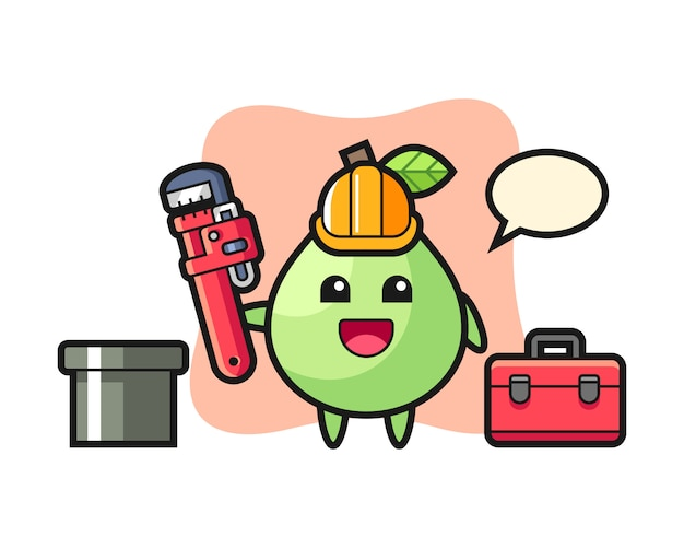 Character illustration of guava as a plumber, cute style design for t shirt, sticker, logo element Premium Vector