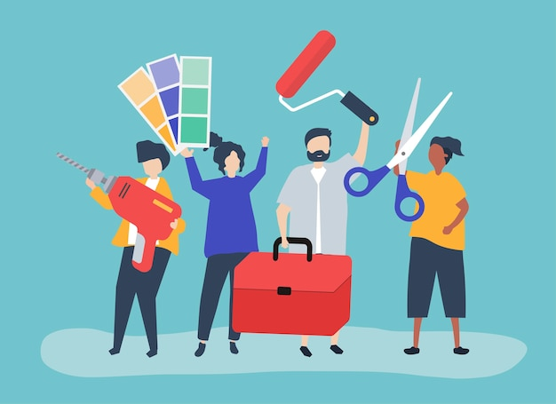Character illustration of home improvement concept Free Vector