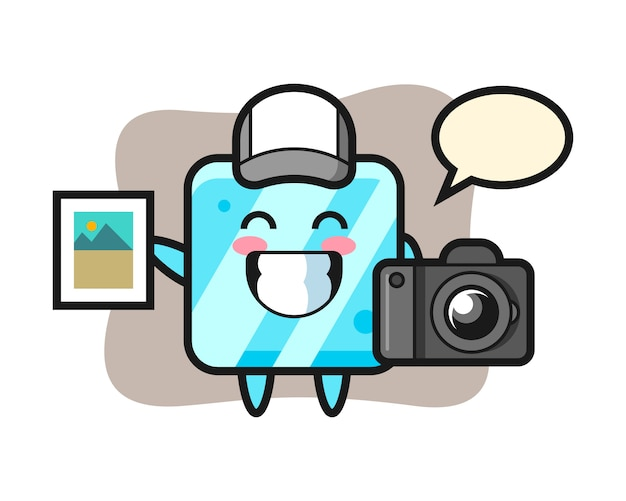 Character illustration of ice cube as a photographer Premium Vector