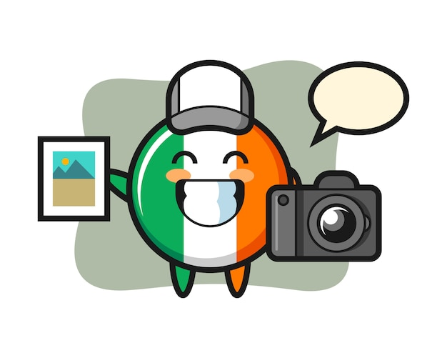 Character illustration of ireland flag badge as a photographer Premium Vector