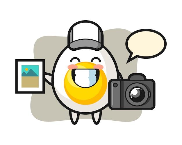 写真家としてのゆで卵のキャラクターイラスト Premiumベクター