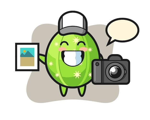 写真家としてのサボテンのキャラクターイラスト Premiumベクター