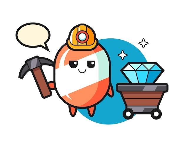 鉱山労働者としてのキャンディーのキャラクターイラスト Premiumベクター
