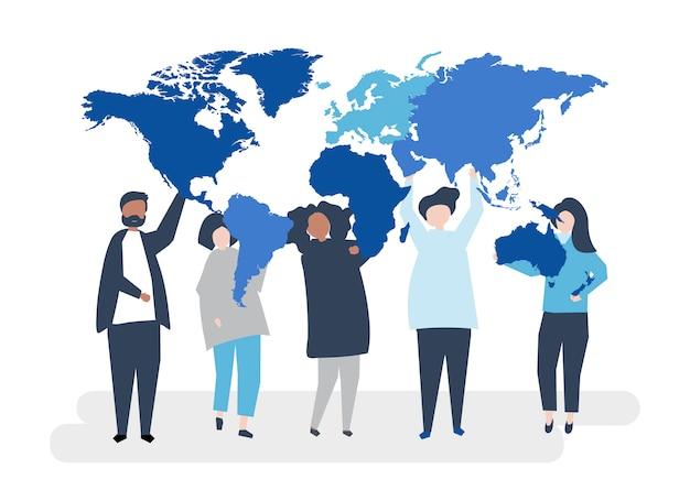多様な人々と世界のキャラクターイラストレーション 無料ベクター