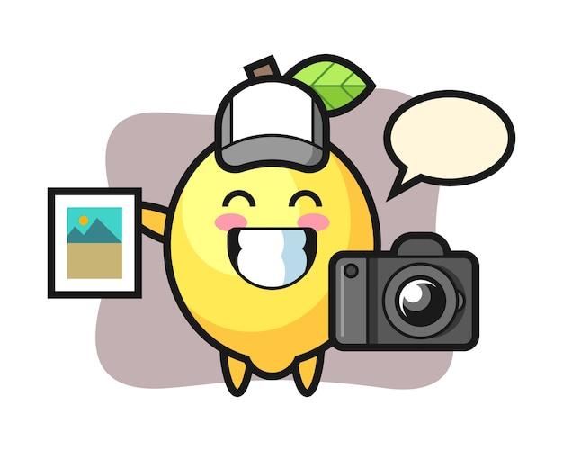 写真家としてのレモンのキャラクターイラスト Premiumベクター