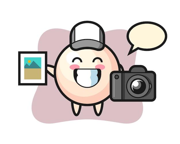 写真家としての真珠のキャラクターイラスト Premiumベクター