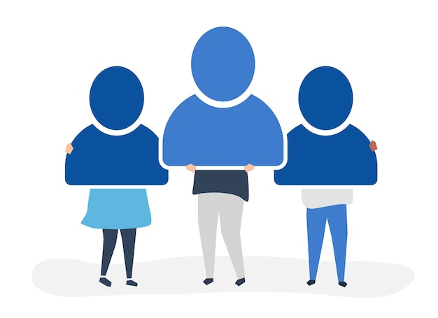 Character illustration of people holding user\ account icons