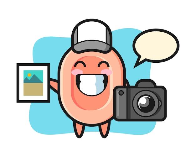 写真家としての石鹸、tシャツ、ステッカー、ロゴ要素のかわいいスタイルのキャラクターイラスト Premiumベクター