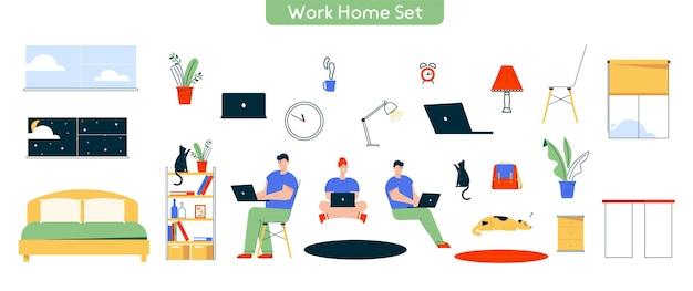 在宅勤務のキャラクターイラスト。男は、ラップトップで働く女性のセットです。リモートワーク、フリーランス。家、テーブル、椅子、ランプ、猫、犬のペット、装飾、オブジェクトのバンドル Premiumベクター