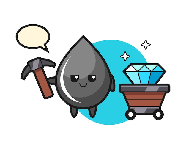 Character illustration of oil drop as a miner Premium Vector
