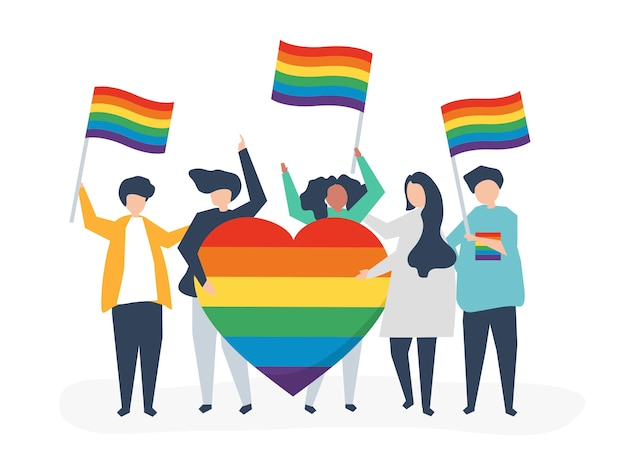 Character illustration of people holding lgbt support icons Free Vector