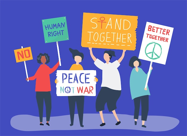 Character illustration of people holding protest signs Free Vector