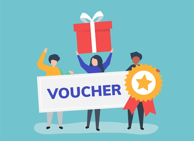 Character illustration of people holding voucher icons Free Vector