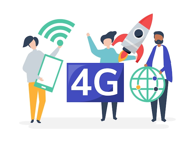 Character illustration of people with 4g icon Free Vector