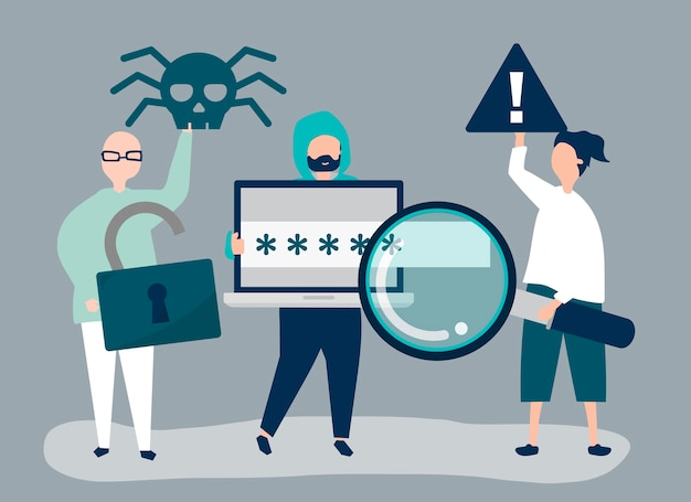 Character illustration of people with cyber crime icons Free Vector