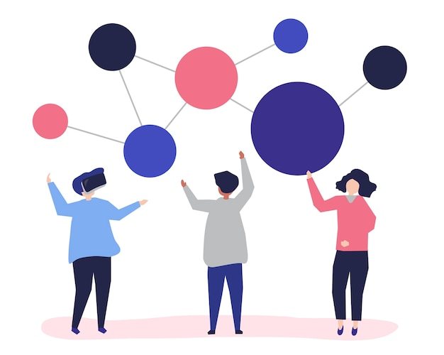Character illustration of people with networking icon Free Vector