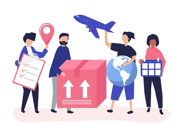 Character illustration of people with packages for shipment Free Vector