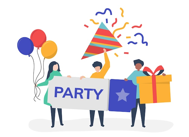 Character illustration of people with party icons Free Vector