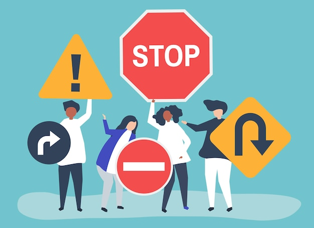 Character illustration of people with traffic sign icons Free Vector