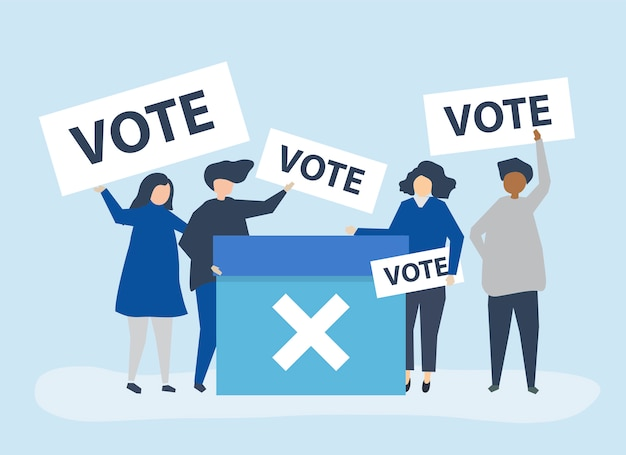 Character illustration of people with vote icons Free Vector