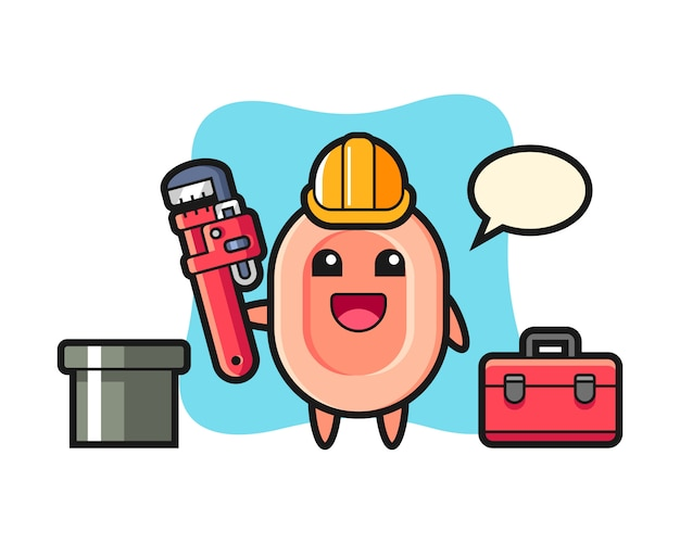 Character illustration of soap as a plumber, cute style  for t shirt, sticker, logo element Premium Vector