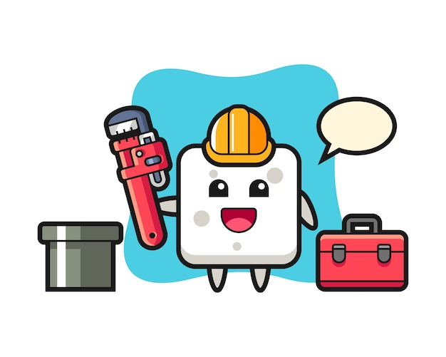 Character illustration of sugar cube as a plumber, cute style  for t shirt, sticker, logo element Premium Vector