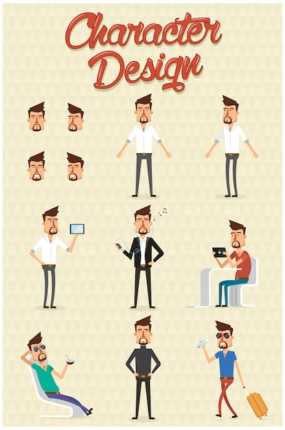 Character in different styles Free Vector