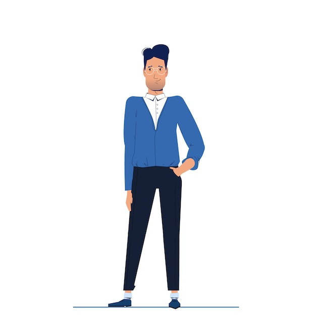 The character is a man businessman stands and looks forward. Free Vector