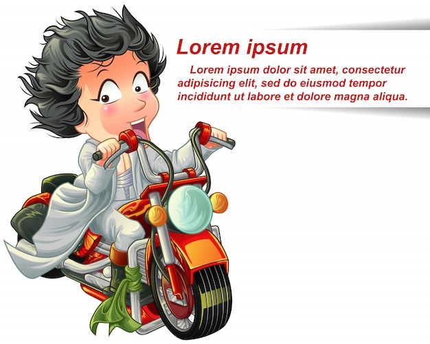 Character is riding powerful red motorcycle speedy. Premium Vector